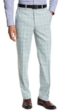 Sean John Men's Classic-Fit Green Windowpane Suit Separate Pants