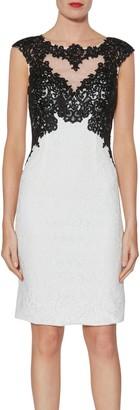 Gina Bacconi Tallulah Contrast Lace Dress, Black/White
