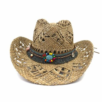 ljpxbb Natural Salt Grass Handmade Crochet Straw Hat Breathable Western Cowboy Cowgirl Beach Cap Large Brim Travel Sun Hat-Khaki_58_cm