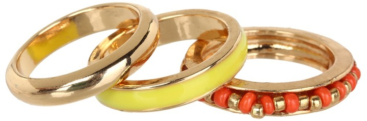 GUESS 3 Piece Banded Ring Set (Gold/Coral/Lime) - Jewelry