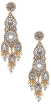 Miguel Ases Beaded Oval Chandelier Statement Earrings