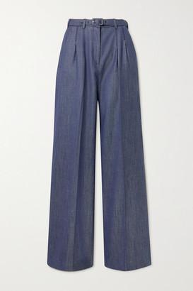 Gabriela Hearst Vargas Belted Wool, Silk And Linen-blend Wide-leg Pants - Navy