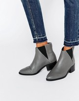 Pieces Drina Gray Leather Chelsea Boots