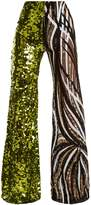 HALPERN Sequin-embellished high-rise flared trousers