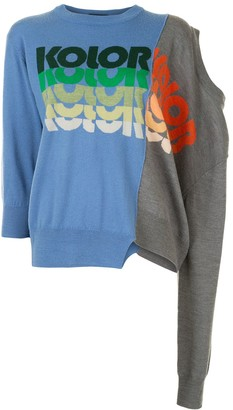 Kolor Logo Print Panelled Asymmetric Jumper