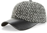 Amici Accessories Women's Tweed & Faux Leather Ball Cap - Black