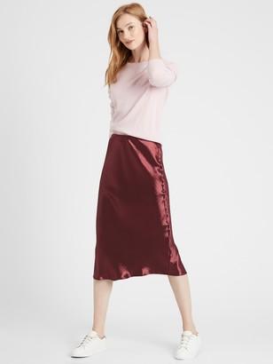 Banana Republic Petite Bias-Cut Midi Slip Skirt