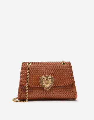 Dolce & Gabbana Large Devotion Shoulder Bag In Braided Nappa Leather