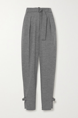3.1 Phillip Lim Belted Pleated Melange Wool Tapered Pants - Gray