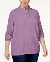 Alfred Dunner Plus Size Quarter-Zip Chenille Sweater
