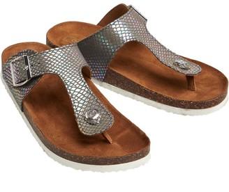 Only Womens Mathilda Snake Toe Split Sandals Grey