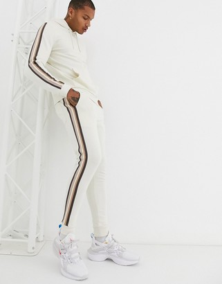 BEIGE ASOS DESIGN tracksuit with hoodie and side stripe in