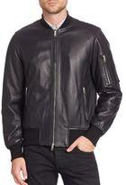 Rag & Bone Leather Baseball Collar Jacket