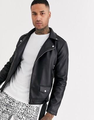 Jack and Jones Originals faux leather heavy biker jacket in black