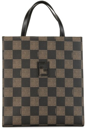 Fendi Pre Owned Checked Print Backpack