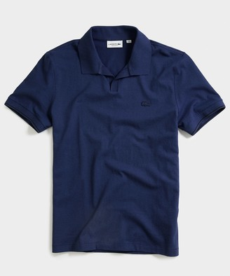 Lacoste Slim Short Sleeve Cotton Linen Polo in Navy