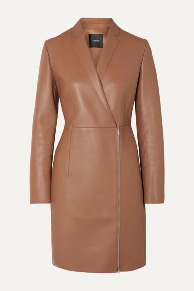 Theory Leather Coat - Camel