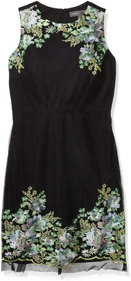 Donna Ricco Women's Sleeveless Floral Embroided Trims Black/Multi 16