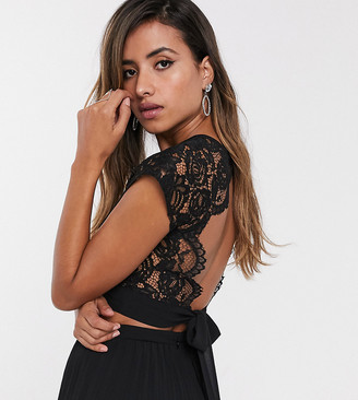 TFNC lace shell top in black