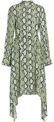 St. John Snake Print Silk Shirtdress