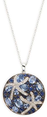 Effy 14K White Gold, Sapphire Diamond Starfish Pendant Necklace