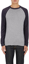 Barneys New York MEN'S CONTRAST-SLEEVE MÉLANGE JERSEY T-SHIRT-LIGHT BLUE SIZE XS