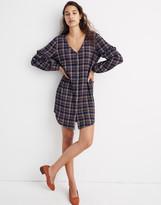 Madewell Plaid V-Neck Ruffle Shirtdress