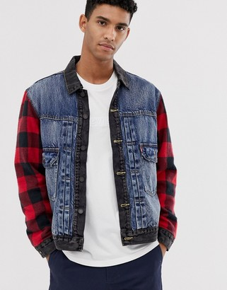 Levi's type 2 hybrid wool check sleeves denim trucker jacket in woodsman black/blue mid wash-Multi