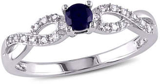 Modern Bride Promise My Love Womens 1/10 CT. T.W. Lab Created Blue Sapphire Sterling Silver Infinity Promise Ring Family