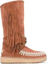 Mou 'Mueskitallsue' boots - women - Cotton/Raffia/Suede/rubber - 36