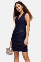 Topshop Indigo Denim Sleeveless Button Down Dress