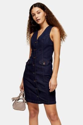 Topshop Indigo Denim Sleeveless Button Down Dress