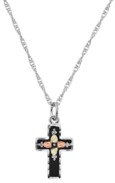 """Black Hills Gold Cross Pendant 18"""" Necklace in Sterling Silver with 12K Rose and Green Gold"""