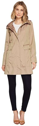 Cole Haan 34 1/2 Single Breasted Rain Jacket with Removable Hood (Indigo) Women's Coat