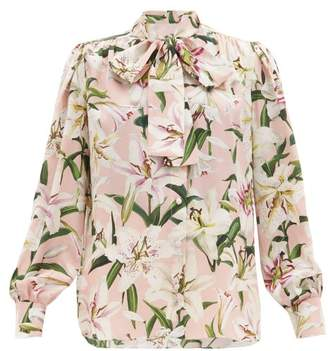 Dolce & Gabbana Lily-print Pussy-bow Silk-crepe Blouse - Womens - Pink Multi