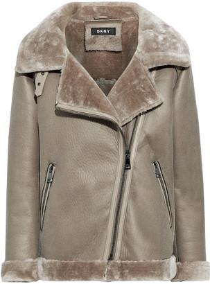 DKNY Faux Shearling Biker Jacket