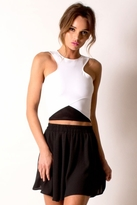Donna Mizani Racer Front Crop Top In Black and White