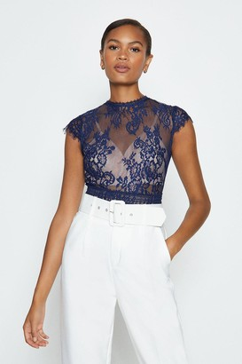 Coast Short Sleeved Open Back Lace Body