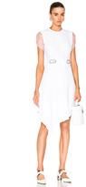 Carven Short Sleeve Dress in White.
