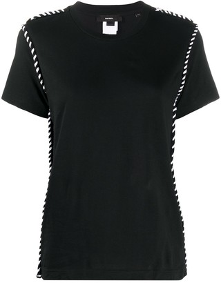 Diesel short-sleeved lace up trim T-shirt