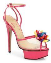 Charlotte Olympia Pomeline Barbie Shoe Mesh & Patent Leather Platform Sandals
