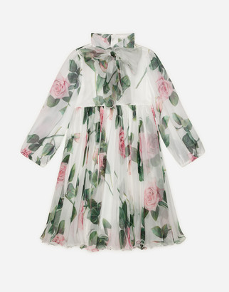 Dolce & Gabbana Chiffon Dress With Tropical Rose Print