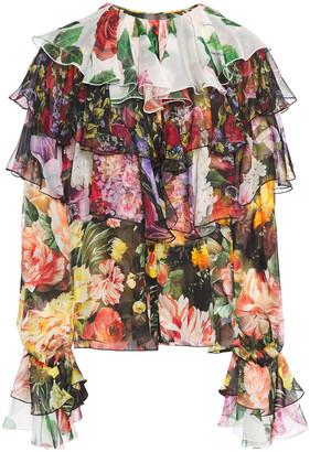 Dolce & Gabbana Ruffled Floral-print Silk-chiffon Blouse
