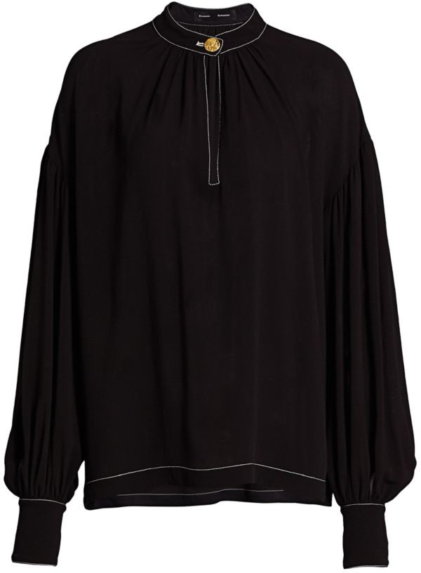 Proenza Schouler Silk Georgette Long Sleeve Keyhole Blouse