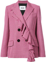 MSGM ruffle detail double breasted blazer