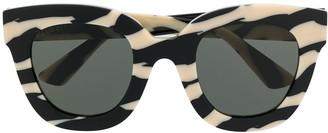 Gucci Zebra Print Soft Round-Frame Sunglasses