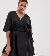 Asos DESIGN Petite v front v back ruched waist mini smock dress