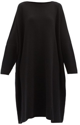 eskandar Boat-neck Rib-knitted Cashmere Midi Dress - Black