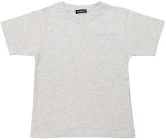 Balenciaga Logo Embroidered Cotton Jersey T-shirt