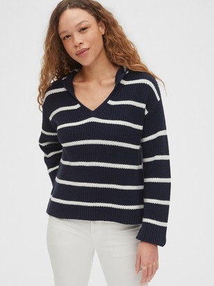 Gap Striped V-Neck Hoodie